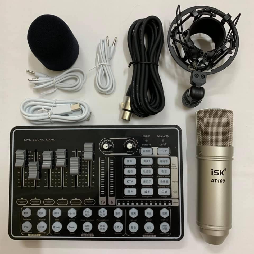 COMBO MIC THU ÂM AT100, SOUND CARD H9 PRO