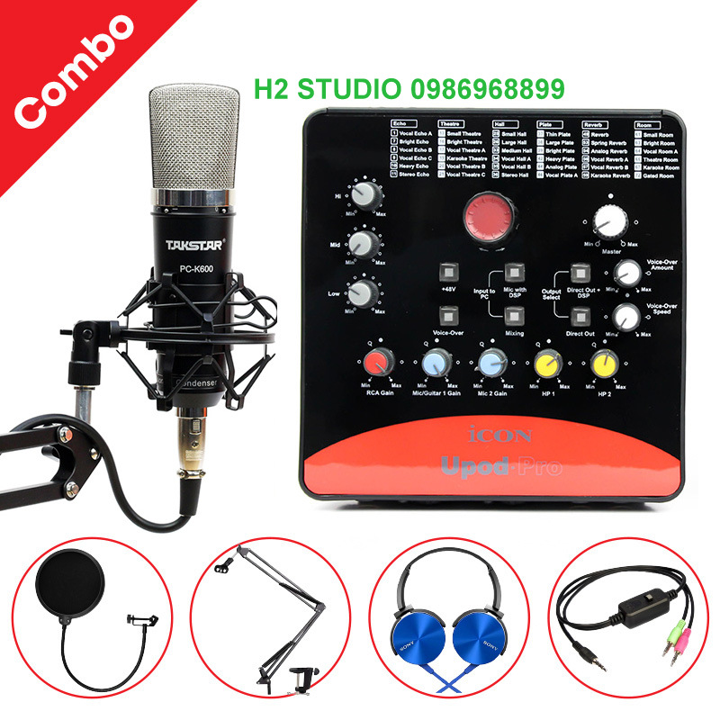 COMBO MIC THU ÂM TAKSTAR PC-K600 + SOUND CARD ICON UPOD PRO