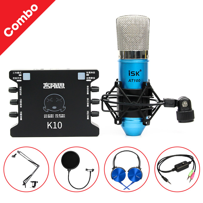 Combo Mic ISK AT100 + Sound card K-10